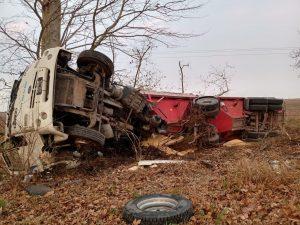 Fuerte impacto de un camión contra un árbol, el chofer está en buen estado