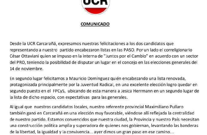 La UCR de Carcarañá emitió un comunicado felicitando a sus candidatos